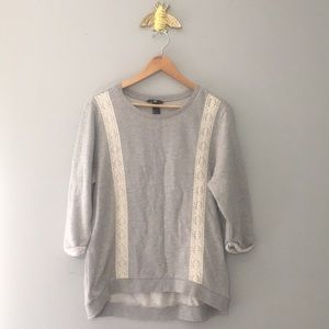 H&M Cotton Blend Crewneck Lace Sweatshirt